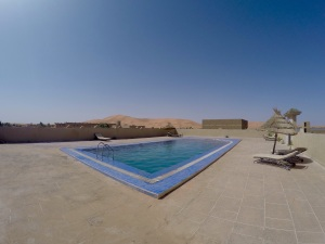 pool overlooking the dunes in the kasbah