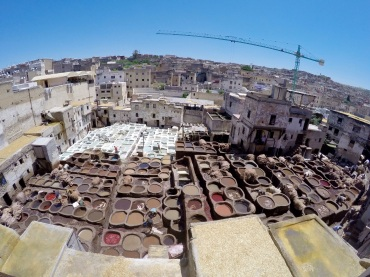 Leather tannery in Fes